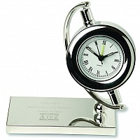 Silver Plated Gyroscope Clock