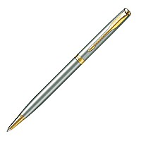 New Parker Sonnet Steel Gold Trim Ballpen